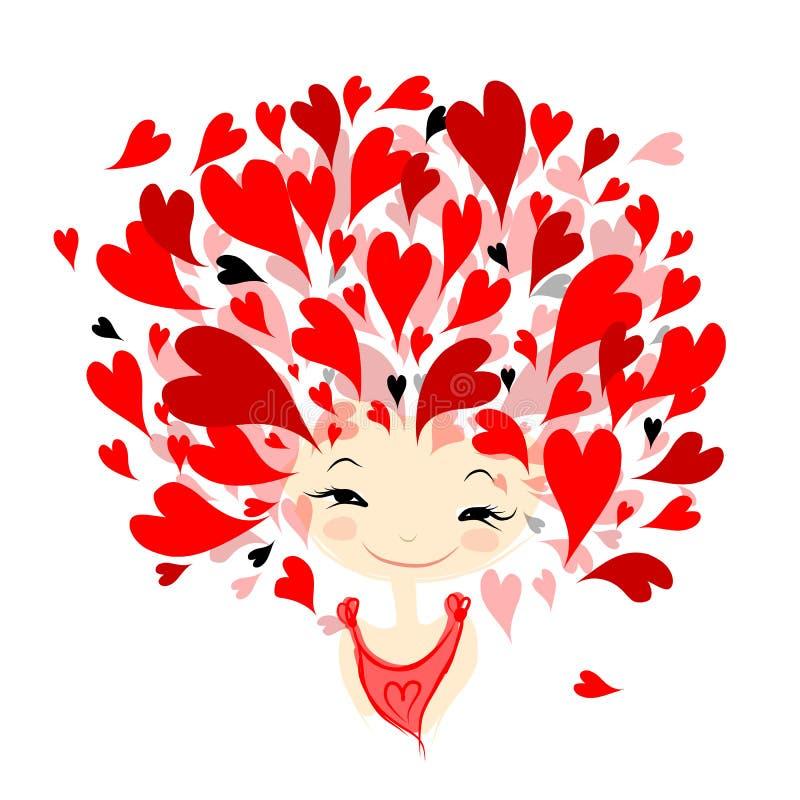 Γυναίκα ερωτευμένη, πορτρέτο για το σχέδιό σας απεικόνιση αποθεμάτων
