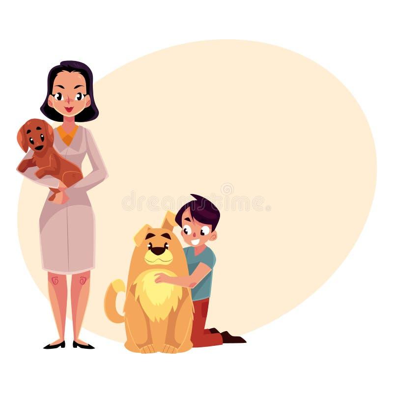 Γυναίκα, θηλυκός κτηνιατρικός γιατρός, κτηνίατρος και μικρό παιδί με τα σκυλιά διανυσματική απεικόνιση