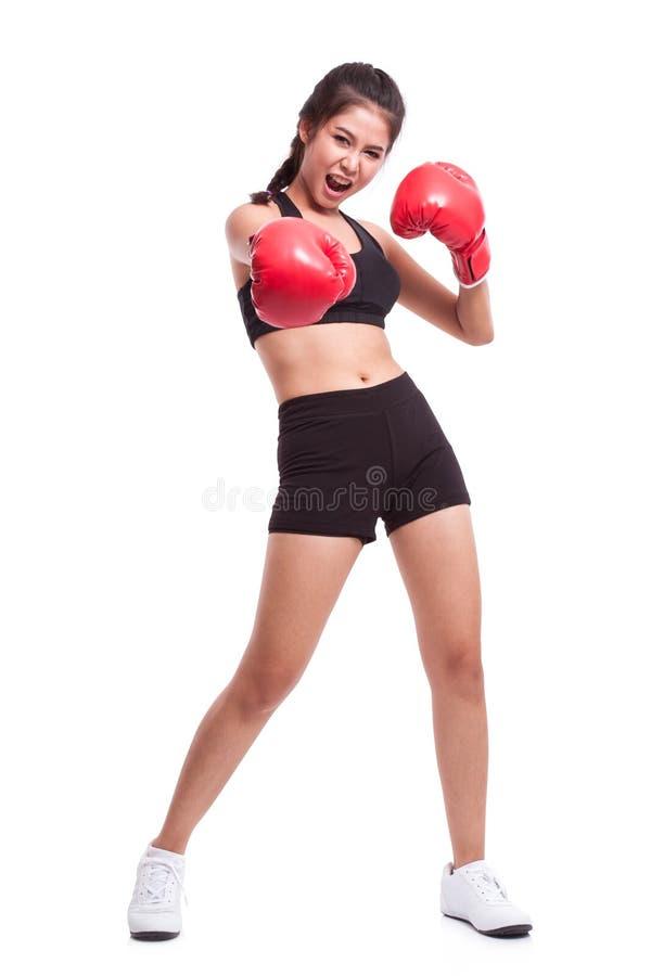 Γυναίκα ικανότητας με τα κόκκινα εγκιβωτίζοντας γάντια στοκ εικόνες με δικαίωμα ελεύθερης χρήσης