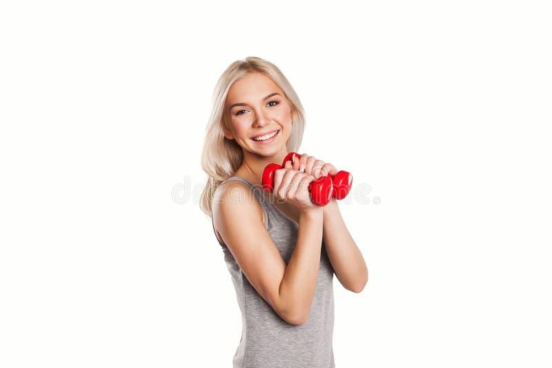 Γυναίκα ικανότητας με τα barbells στοκ φωτογραφίες