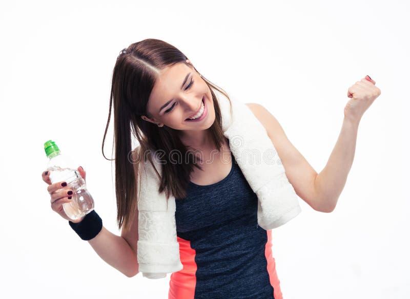 Γυναίκα ικανότητας που γιορτάζει τη νίκη της στοκ φωτογραφία