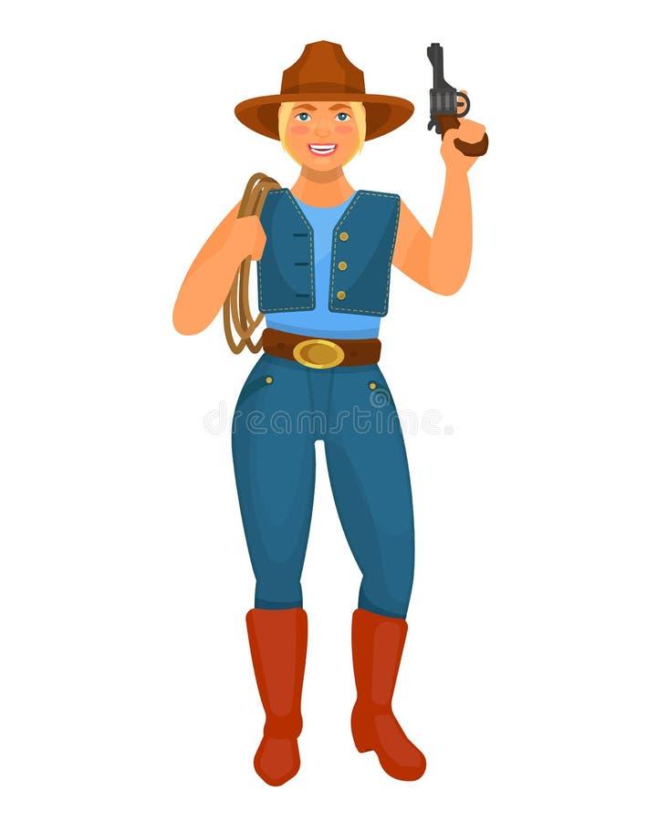 Γυναίκα κάουμποϋ χαρακτήρα από το δυτικό, με τα πυροβόλα όπλα και το λάσο απεικόνιση αποθεμάτων