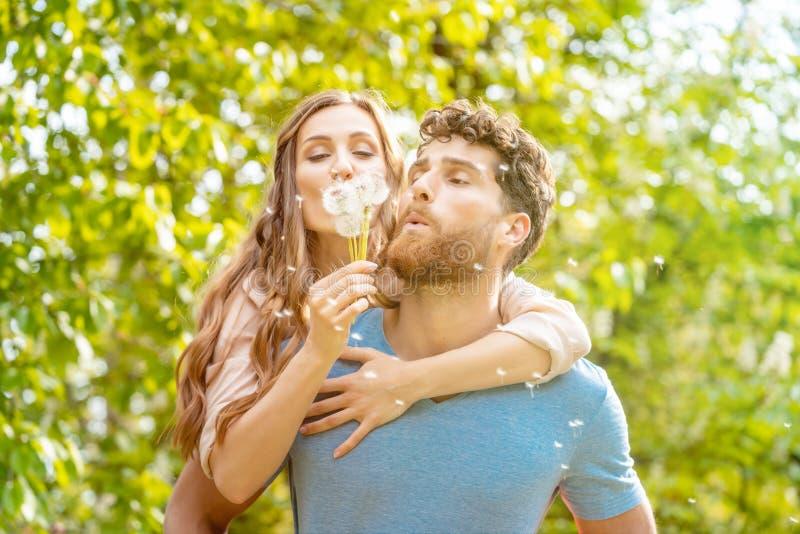 Γυναίκα και άνδρας σε ένα λιβάδι στη ρομαντική διάθεση στοκ εικόνα με δικαίωμα ελεύθερης χρήσης