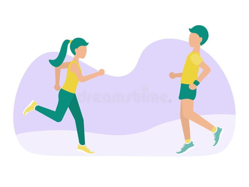 Γυναίκα και άνδρας τρεξίματος ελεύθερη απεικόνιση δικαιώματος
