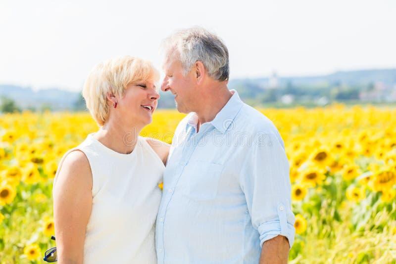 Γυναίκα και άνδρας, πρεσβύτεροι, που στέκονται στον τομέα ηλίανθων στοκ φωτογραφία