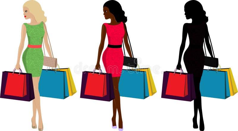 Γυναίκα και αγορές διανυσματική απεικόνιση