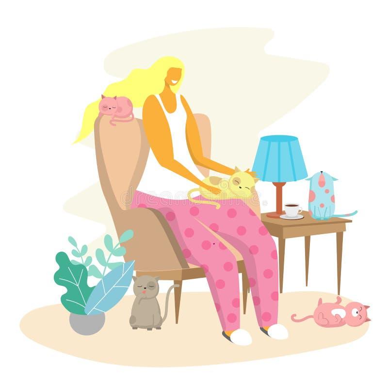 Γυναίκα και η διανυσματική επίπεδη απεικόνιση σχεδίου ύφους γατών της διανυσματική απεικόνιση