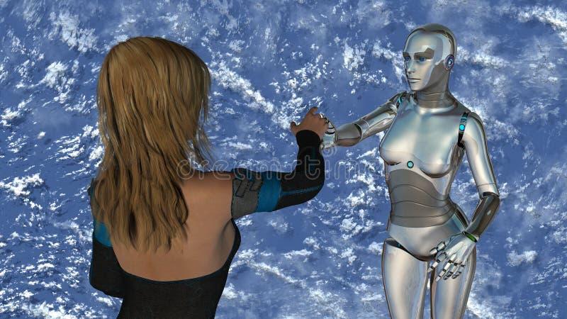 Γυναίκα και ρομπότ - τεχνολογία τεχνητής νοημοσύνης απεικόνιση αποθεμάτων