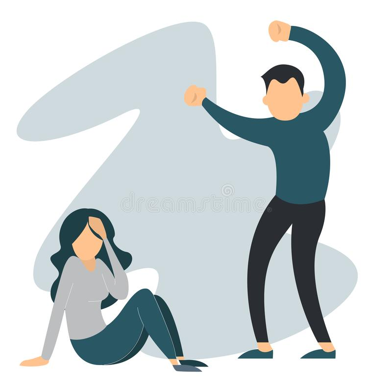 Γυναίκα κατάχρησης ανδρών Οικογενειακή βία, φωνάζοντας θηλυκό ελεύθερη απεικόνιση δικαιώματος