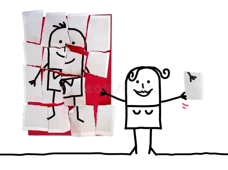 Γυναίκα κινούμενων σχεδίων με το τελευταίο ελλείπον κομμάτι για το γρίφο ανδρών της στοκ εικόνες