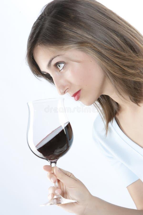 γυναίκα κόκκινου κρασιού γυαλιού στοκ φωτογραφίες με δικαίωμα ελεύθερης χρήσης