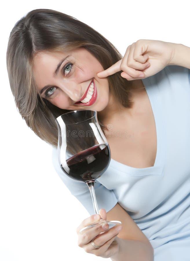 γυναίκα κόκκινου κρασιού γυαλιού στοκ φωτογραφία με δικαίωμα ελεύθερης χρήσης
