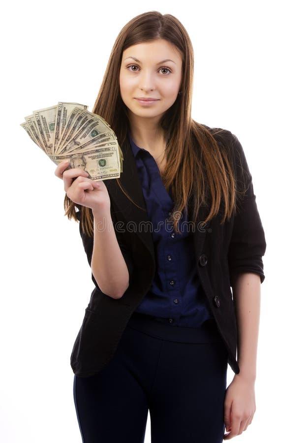 Γυναίκα με έναν ανεμιστήρα χρημάτων στοκ εικόνες