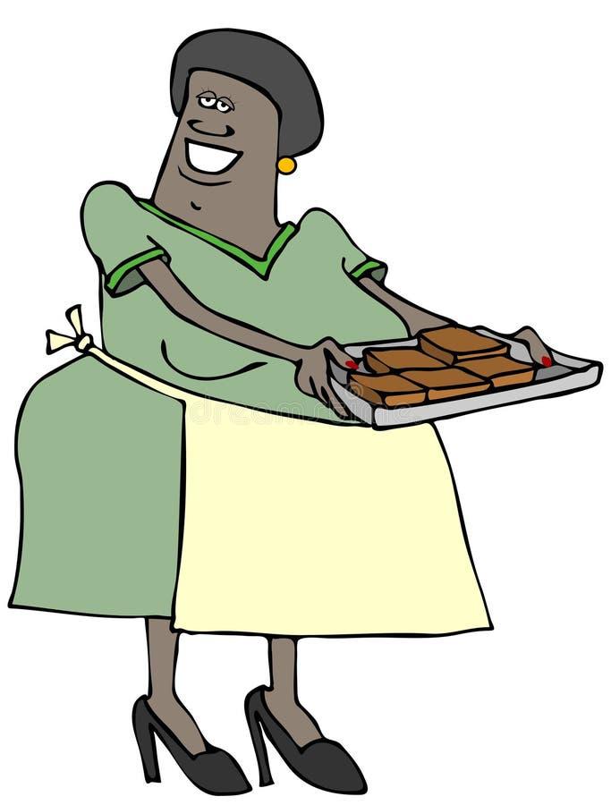 Γυναίκα με έναν δίσκο των brownies απεικόνιση αποθεμάτων
