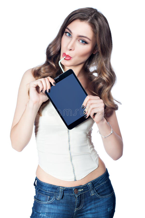 Γυναίκα με ένα άχυρο κοκτέιλ στοκ εικόνες