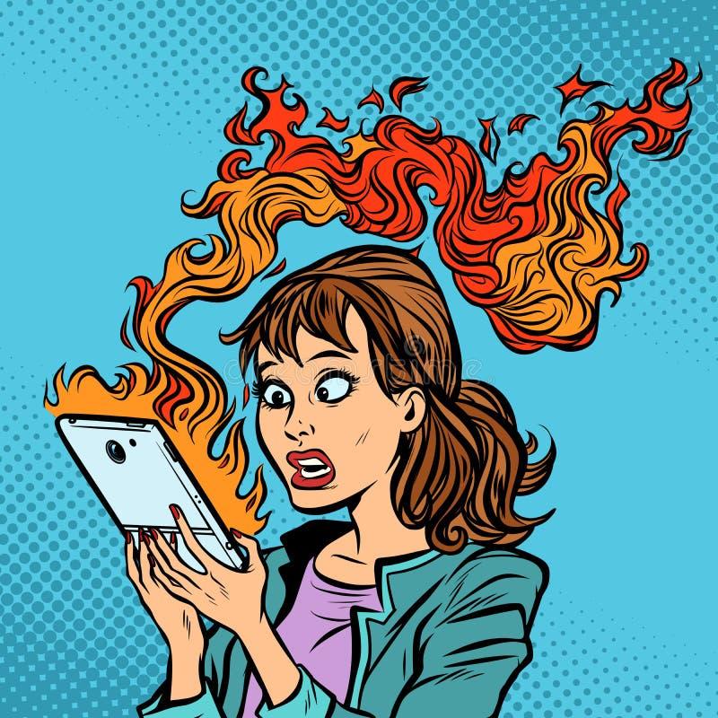 Γυναίκα με ένα καίγοντας τηλέφωνο καυτές ειδήσεις Ανάφλεξη της μπαταρίας απεικόνιση αποθεμάτων