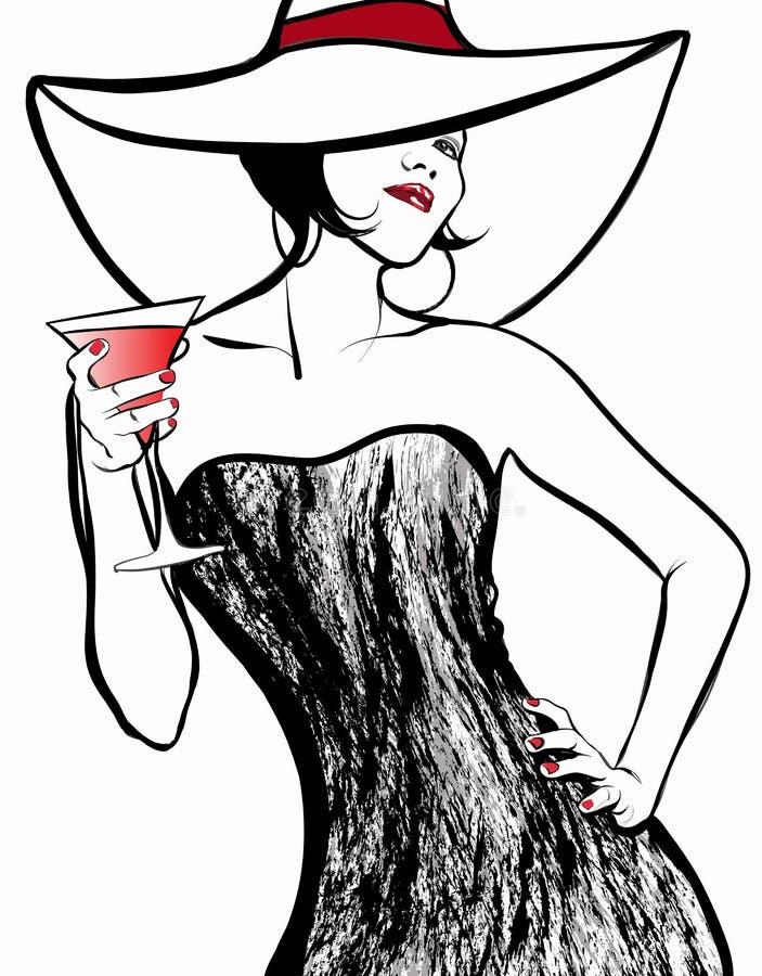 Γυναίκα με ένα καπέλο που πίνει ένα κοκτέιλ στοκ φωτογραφίες