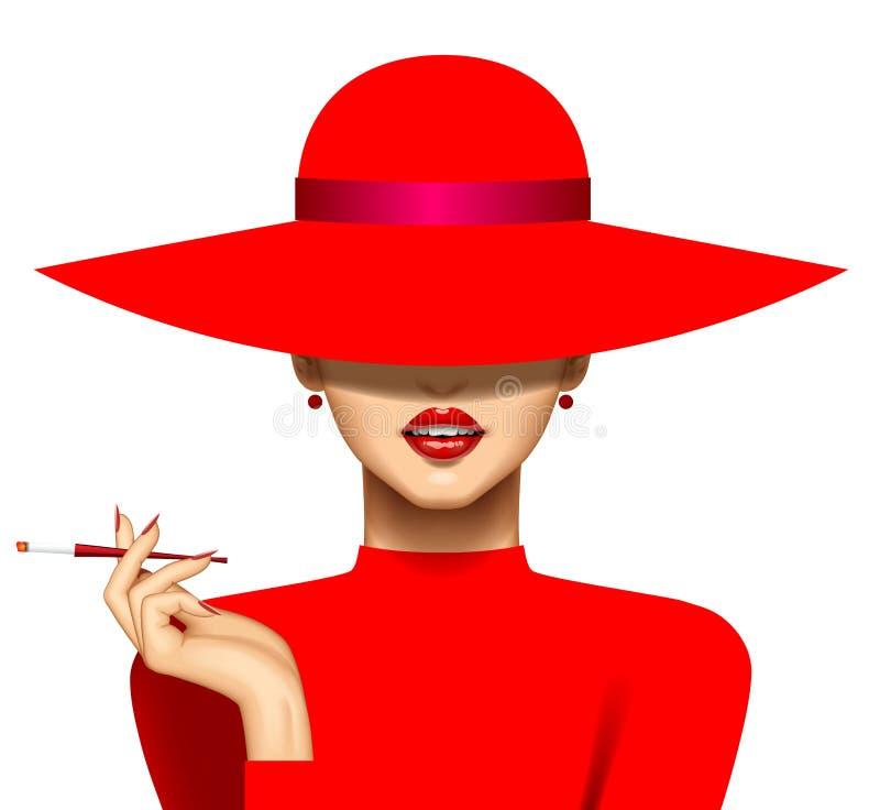 Γυναίκα με ένα τσιγάρο στο κόκκινο φόρεμα καπέλων και βραδιού απεικόνιση αποθεμάτων