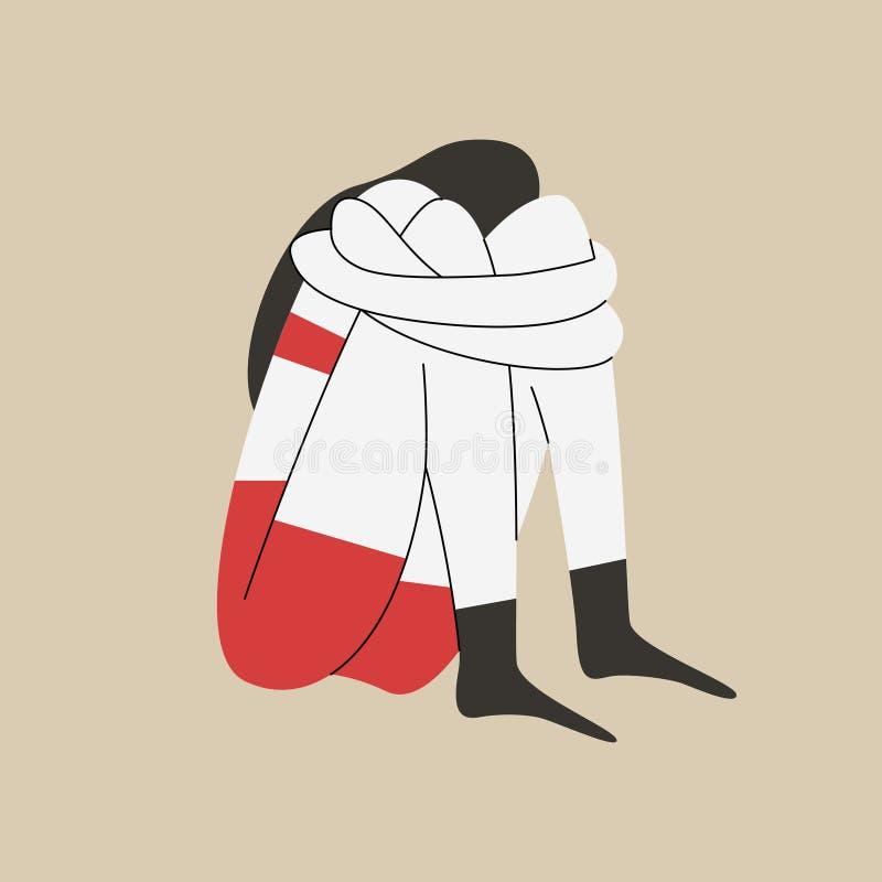 Γυναίκα με κατάθλιψη να κάθεται και να κλαίει με τα χέρια γύρω από τα γόνατά της Έννοια της κατάστασης που προκαλεί άγχος Απεικόν ελεύθερη απεικόνιση δικαιώματος