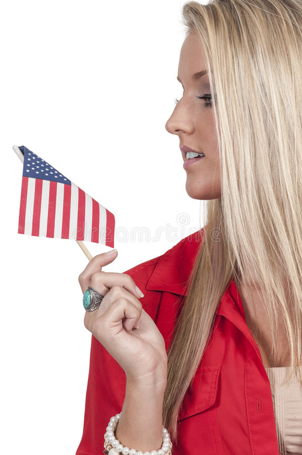 Γυναίκα με μια σημαία στοκ εικόνα με δικαίωμα ελεύθερης χρήσης