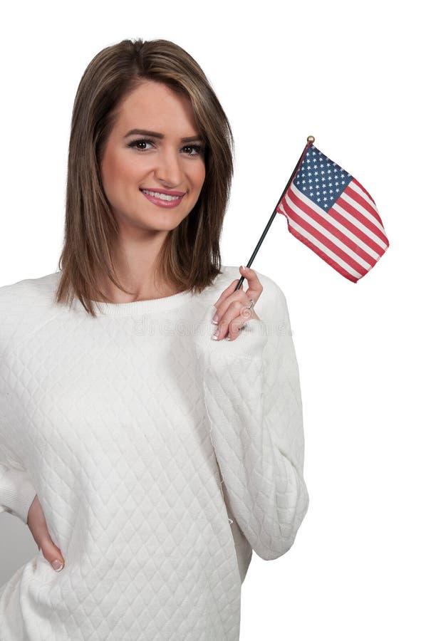 Γυναίκα με μια σημαία στοκ φωτογραφία με δικαίωμα ελεύθερης χρήσης