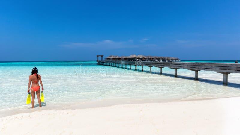 Γυναίκα με που κολυμπά με αναπνευτήρα το εργαλείο που στέκεται σε μια Maldivian παραλία στοκ φωτογραφίες με δικαίωμα ελεύθερης χρήσης