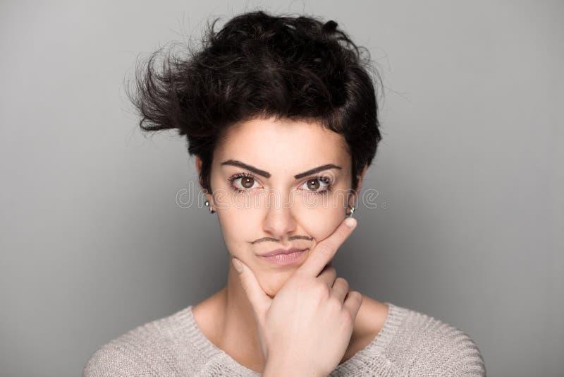 Γυναίκα με συρμένο Mustaches στοκ εικόνα