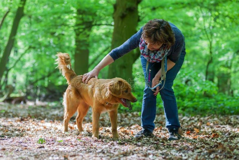 Γυναίκα με τα σκυλιά της στο δάσος στοκ φωτογραφία