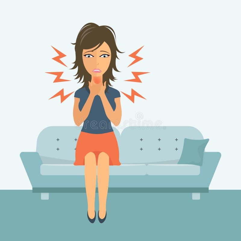 Γυναίκα με τα χέρια γύρω από το λαιμό της υλοτομία ανασκόπησης που απομονώνεται πέρα από την άρρωστη λευκή γυναίκα γύρω από την ο ελεύθερη απεικόνιση δικαιώματος