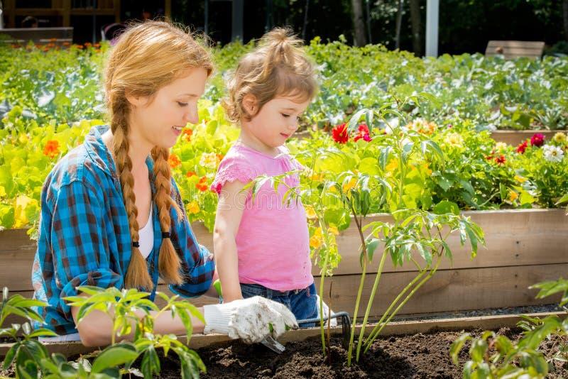 Γυναίκα με την λίγη κόρη στον κήπο στοκ εικόνες