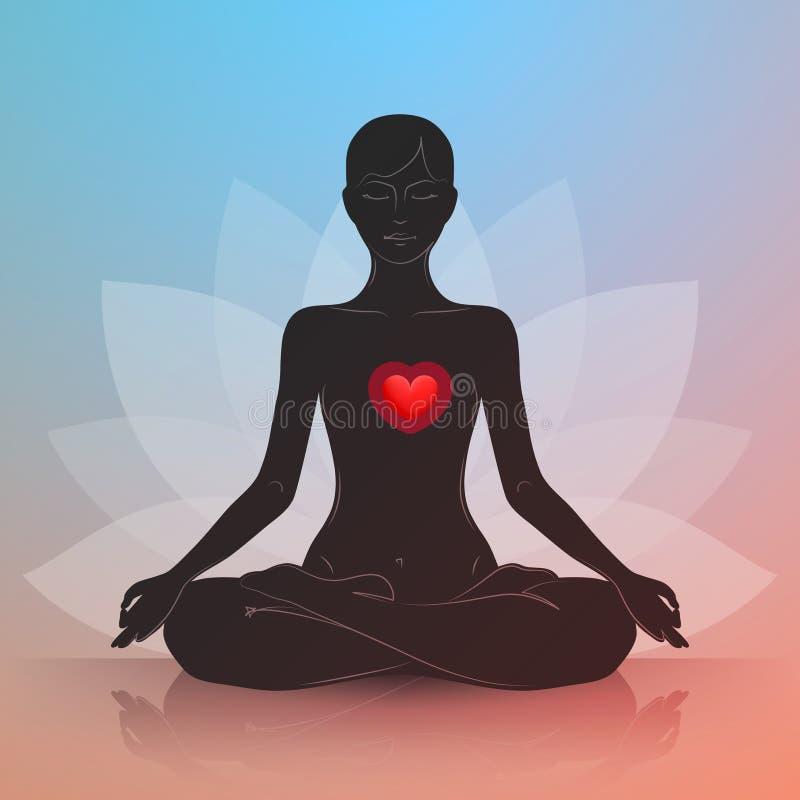 Γυναίκα με την καρδιά Θέση Lotus διανυσματική απεικόνιση