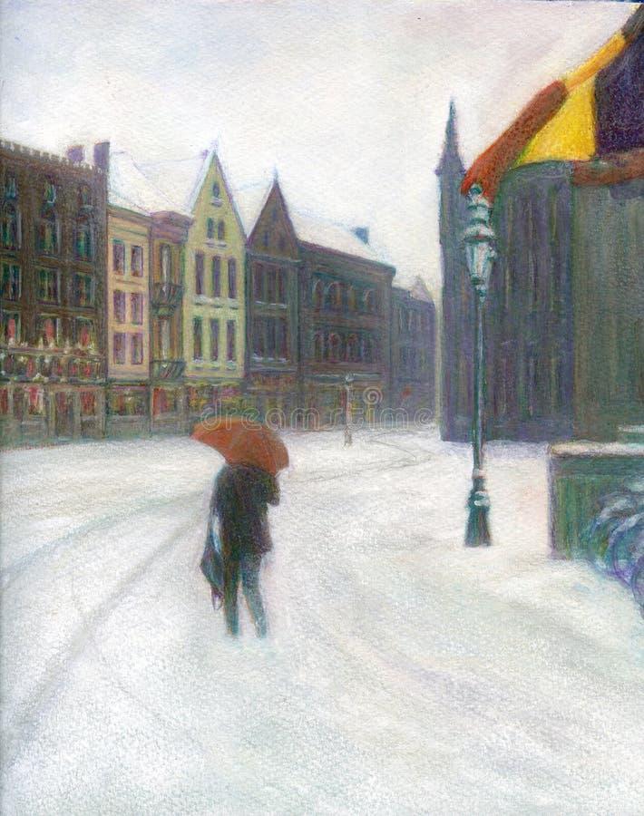 Γυναίκα με την ομπρέλα, που περπατά στο χιόνι, τετράγωνο αγοράς, Μπρυζ, Βέλγιο, Χριστούγεννα διανυσματική απεικόνιση