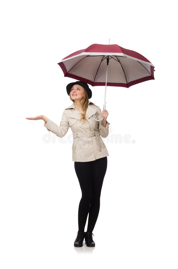 Download Γυναίκα με την ομπρέλα που απομονώνεται στο λευκό Στοκ Εικόνα - εικόνα από κορίτσι, άνετος: 62710275