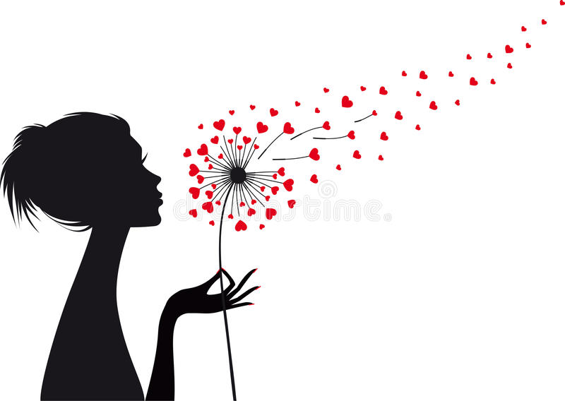 Γυναίκα με την πικραλίδα καρδιών, διάνυσμα ελεύθερη απεικόνιση δικαιώματος