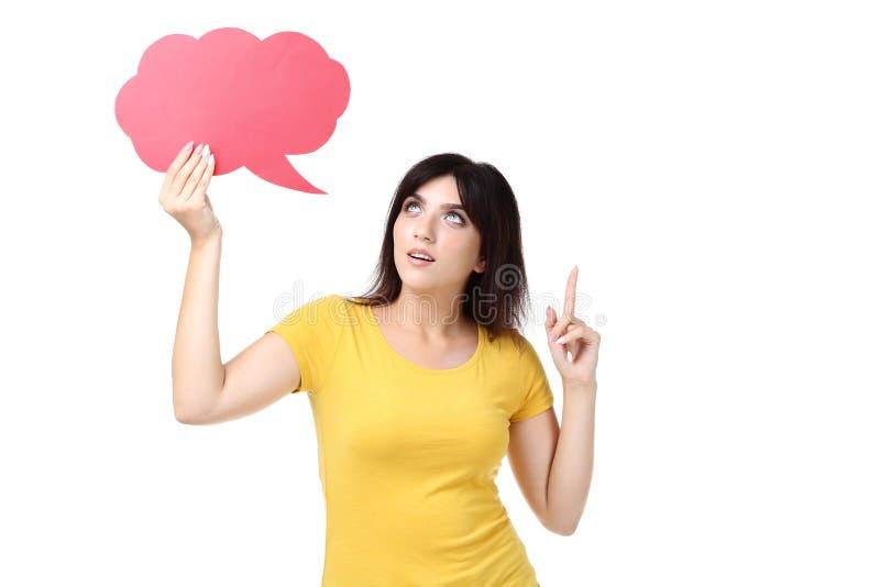 Γυναίκα με τη λεκτική φυσαλίδα στοκ φωτογραφία με δικαίωμα ελεύθερης χρήσης