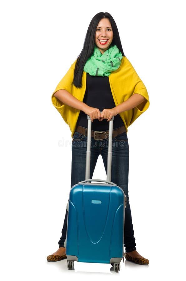 Download Γυναίκα με τις βαλίτσες στο λευκό Στοκ Εικόνα - εικόνα από επιπλέον, ανασκόπησης: 62708825