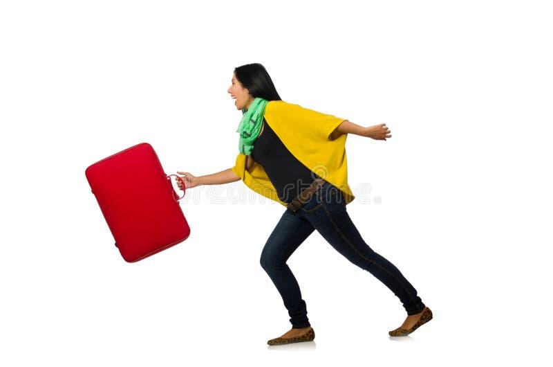 Download Γυναίκα με τις βαλίτσες στο λευκό Στοκ Εικόνες - εικόνα από ανασκόπησης, στάση: 62708830
