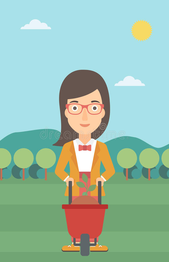 Γυναίκα με τις εγκαταστάσεις και wheelbarrow απεικόνιση αποθεμάτων