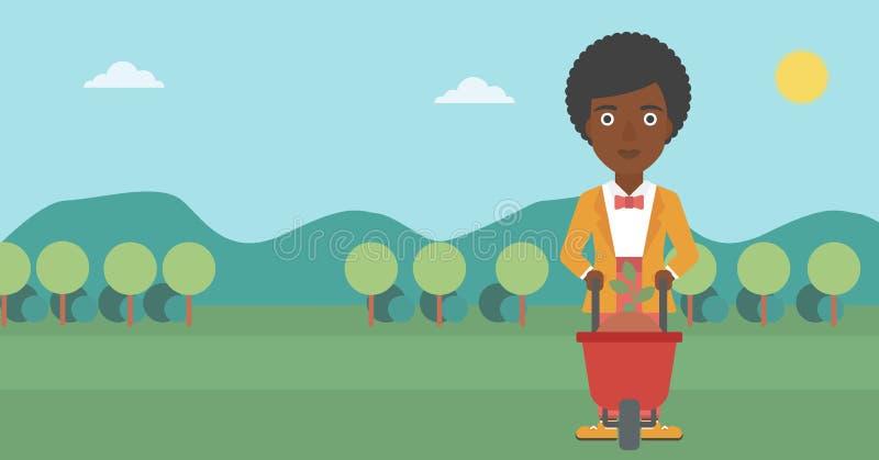 Γυναίκα με τις εγκαταστάσεις και wheelbarrow διανυσματική απεικόνιση