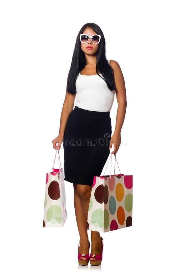 Download Γυναίκα με τις τσάντες αγορών στο λευκό Στοκ Εικόνες - εικόνα από δώρο, πολλοί: 62706452