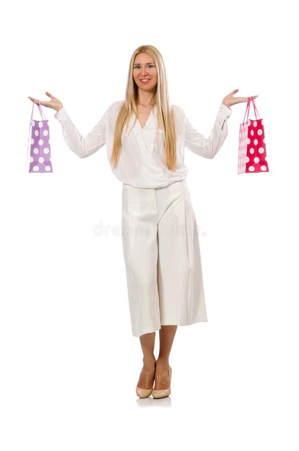 Download Γυναίκα με τις τσάντες αγορών στο λευκό Στοκ Εικόνα - εικόνα από απομονωμένος, αρκετά: 62708751