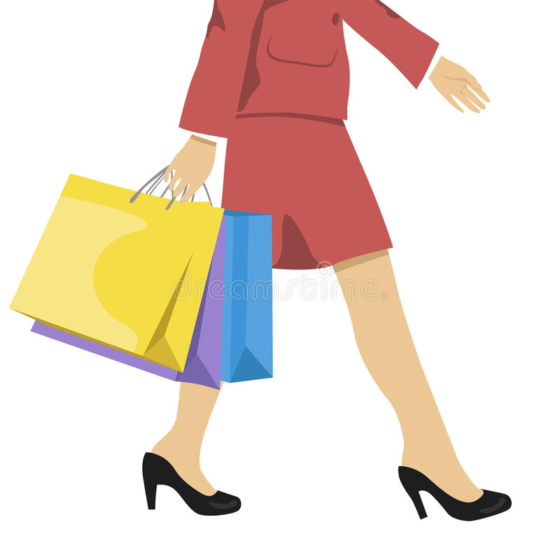 Γυναίκα με τις τσάντες αγορών, χαμηλότερες - μισή μέση κάτω από την απεικόνιση των ποδιών στα υψηλά τακούνια και τις ζωηρόχρωμες  διανυσματική απεικόνιση