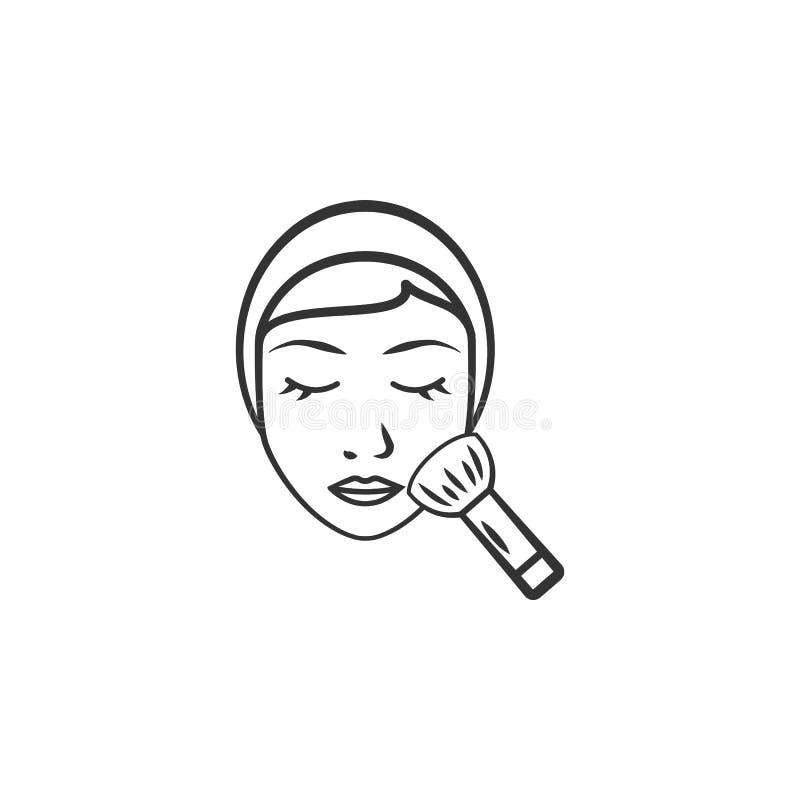 Γυναίκα με το καλλυντικό εικονίδιο βουρτσών Στοιχείο του εικονιδίου γυναικών makeup για την κινητούς έννοια και τον Ιστό apps Λεπ διανυσματική απεικόνιση
