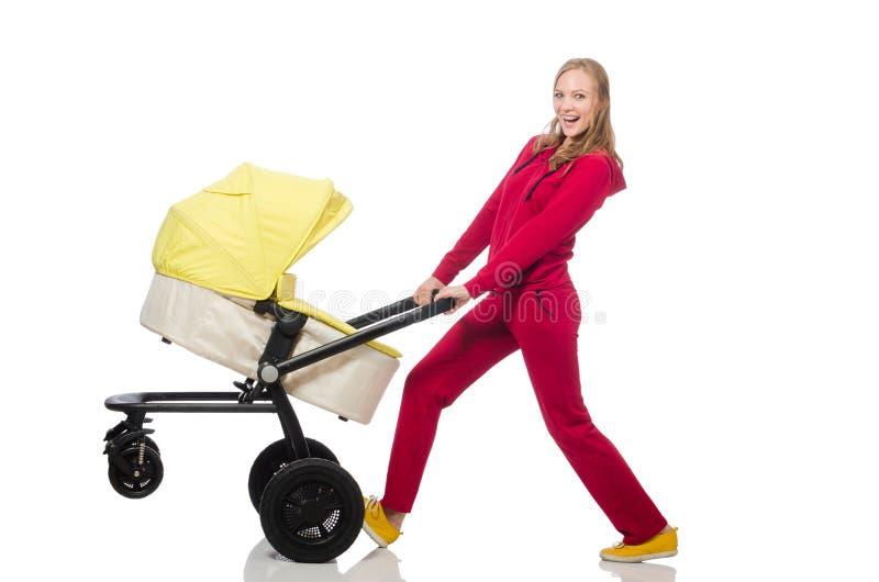 Download Γυναίκα με το καροτσάκι που απομονώνεται στο λευκό Στοκ Εικόνες - εικόνα από ευτυχής, περιποίηση: 62710030