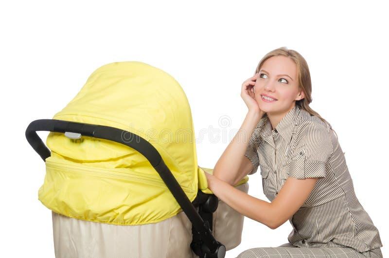 Download Γυναίκα με το καροτσάκι που απομονώνεται στο λευκό Στοκ Εικόνα - εικόνα από νέος, έδρα: 62710031