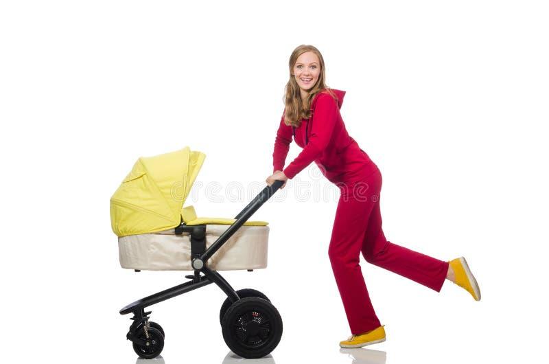 Download Γυναίκα με το καροτσάκι που απομονώνεται στο λευκό Στοκ Εικόνες - εικόνα από ευτυχής, childhood: 62710032