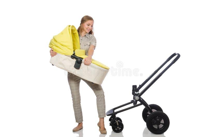 Download Γυναίκα με το καροτσάκι που απομονώνεται στο λευκό Στοκ Εικόνες - εικόνα από νήπιο, ευτυχής: 62710054