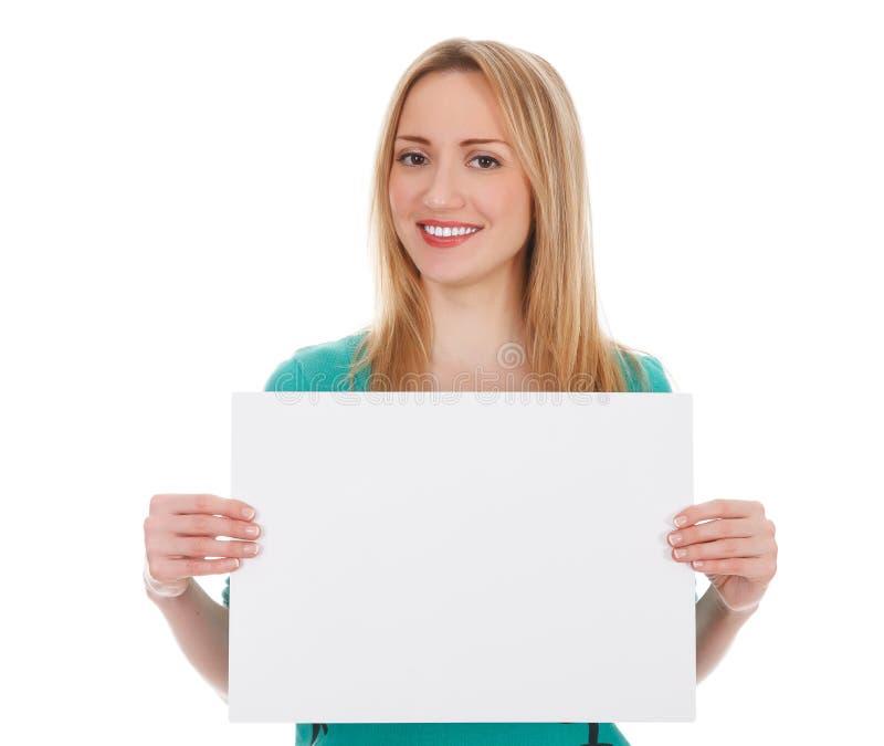 Γυναίκα με το κενό λευκό χαρτόνι στοκ φωτογραφία