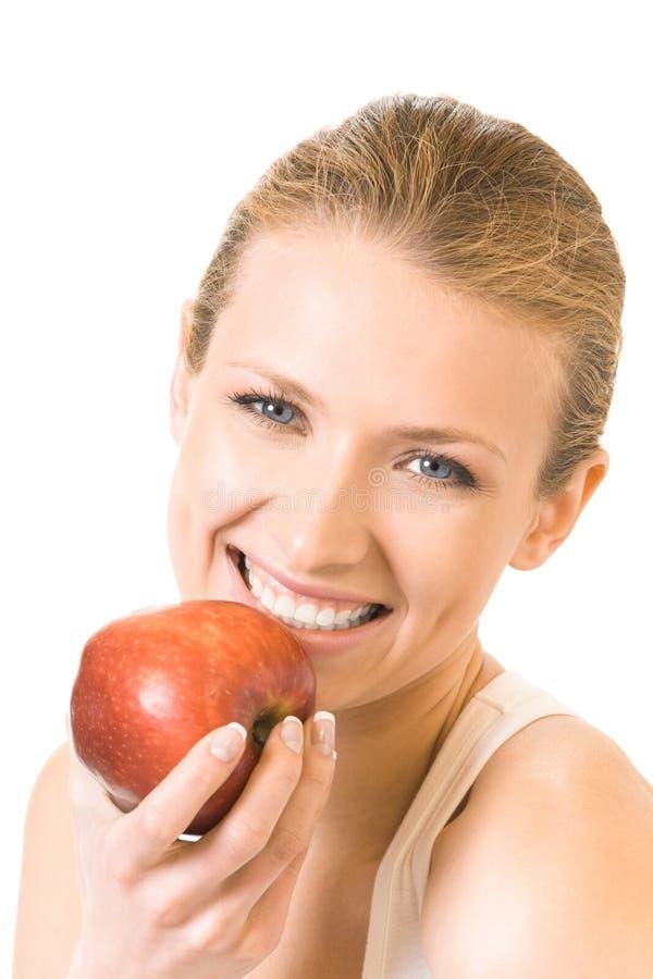Γυναίκα με το μήλο, που απομονώνεται στοκ φωτογραφία με δικαίωμα ελεύθερης χρήσης
