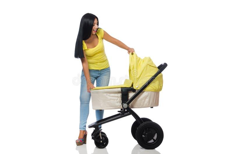 Download Γυναίκα με το μωρό και καροτσάκι που απομονώνεται στο λευκό Στοκ Εικόνες - εικόνα από πατρότητα, ευτυχής: 62709432